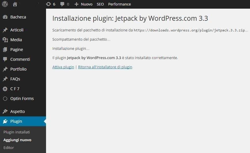 Installazione di un plugin